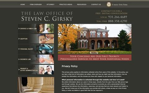 Screenshot of Privacy Page queencitylaw.com - Privacy Policy | The Law Office of Steven C. Girsky | Clarksville - captured Oct. 2, 2014