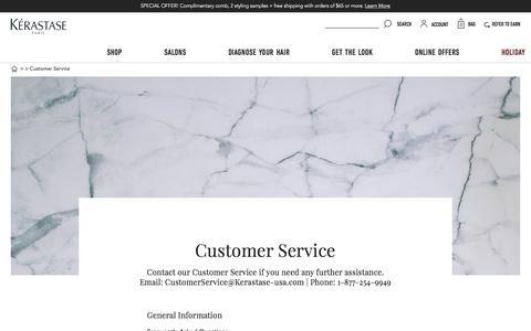 Screenshot of Support Page kerastase-usa.com - Contact Our Customer Service | Kérastase - captured Nov. 20, 2017