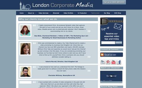 Screenshot of Testimonials Page londoncorporatemedia.co.uk - Testimonials for London Corporate Media - captured Sept. 30, 2014