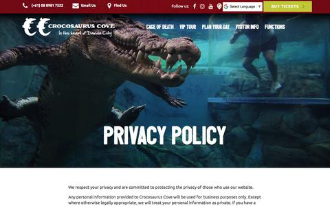 Screenshot of Privacy Page crocosauruscove.com - Croccove | Privacy Policy - captured July 22, 2018