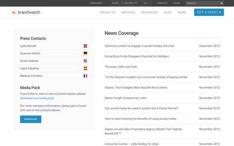 Screenshot of Press Page brandwatch.com - News Coverage   158/159   Brandwatch - captured Oct. 20, 2017