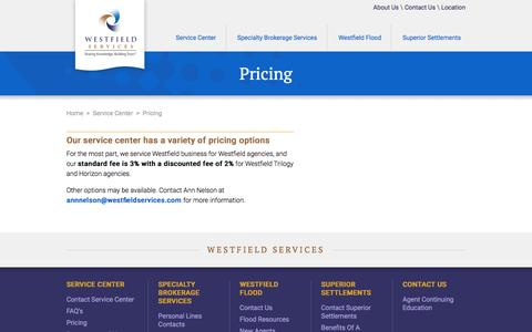 Screenshot of Pricing Page westfieldservices.com - Pricing - captured Feb. 25, 2016