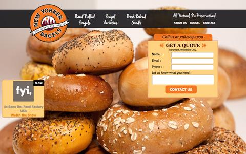 Screenshot of Home Page newyorkerbagels.com - Wholesale Bagels from New Yorker Bagels � Fresh from the oven to you. - captured Jan. 12, 2016