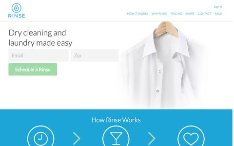Screenshot of Home Page Pricing Page rinse.com - Rinse: Dry Cleaning and Laundry made easy.  One touch, no stress. - captured Sept. 19, 2014