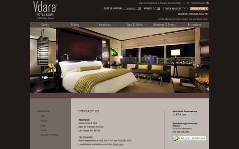 Screenshot of Contact Page vdara.com - Contact Vdara - Las Vegas - captured Sept. 19, 2014