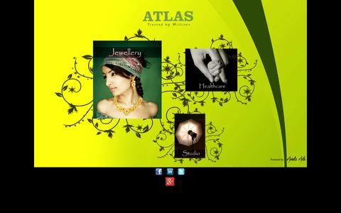 Screenshot of Home Page atlasera.com - ATLAS ::: Jewellery ::: Healthcare ::: Studios - captured Sept. 25, 2014