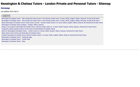 Screenshot of Site Map Page kctutors.co.uk - Sitemap - Kensington & Chelsea Tutors - captured Oct. 6, 2014