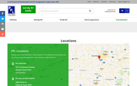 Screenshot of Locations Page Maps & Directions Page pplmotorhomes.com - View all of our locations in Texas | PPL Motor Homes - captured Sept. 28, 2018
