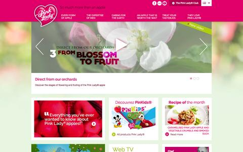 Screenshot of Home Page apple-pinklady.com - Pink Lady®, so much more than an apple - Pink Lady® Apple - captured Sept. 11, 2015
