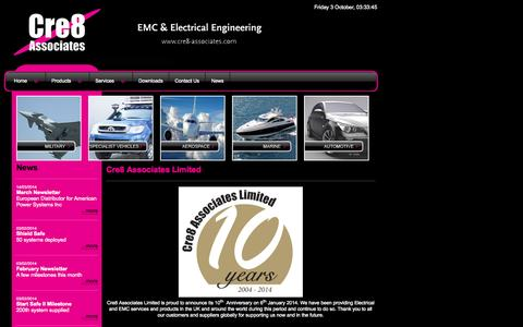 Screenshot of Home Page cre8-associates.com - EMC, EMC filters, Electrical Engineering, EMC Consultancy & Testing. - captured Oct. 3, 2014