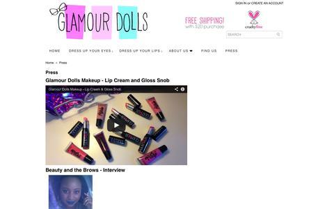 Screenshot of Press Page glamourdollsmakeup.com - Press - captured Sept. 30, 2014