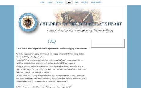 Screenshot of FAQ Page childrenoftheimmaculateheart.org - FAQ   Children of the Immaculate Heart - captured May 16, 2017
