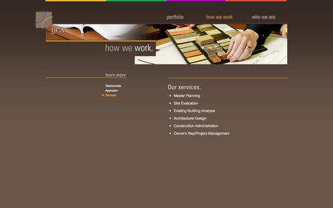 Screenshot of Services Page jjca.com - Johnson Johnson Crabtree Architects P.C. | How We Work | Services - captured Sept. 30, 2014