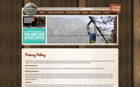 Screenshot of Privacy Page foresthome.org - Forest Home  » Privacy Policy - captured Sept. 22, 2014