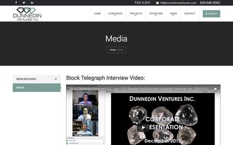 Screenshot of Press Page dunnedinventures.com - Media - Dunnedin Ventures Inc, Diamond Mines, Mining in Canada, Canadian Mining Companies - captured Nov. 28, 2016