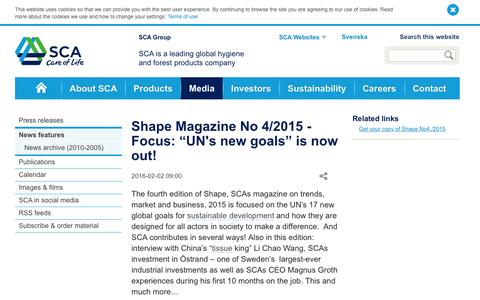 """Screenshot of sca.com - Shape Magazine No 4/2015 - Focus: """"UN's new goals"""" is now out! - SCA Corporate - captured March 20, 2016"""
