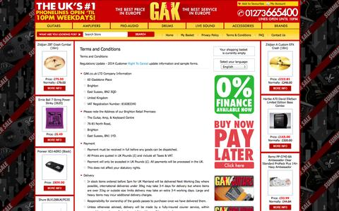 Screenshot of Terms Page gak.co.uk - Terms and Conditions - captured Sept. 19, 2014