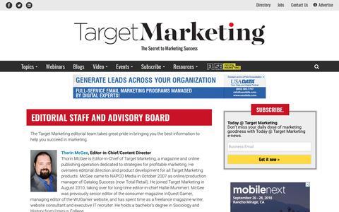 Screenshot of Contact Page targetmarketingmag.com - Target Marketing magazine editorial staff - captured July 2, 2018