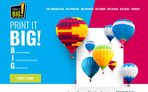Screenshot of Home Page printitbig.com - Large Format Printing Services St Louis, MO –Print It BIG - captured July 21, 2018