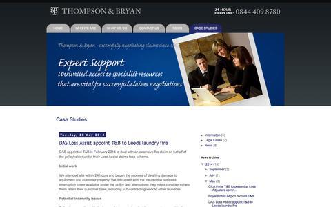 Screenshot of Case Studies Page thompsonandbryan.com - Thompson & Bryan Case Studies - captured Oct. 1, 2014