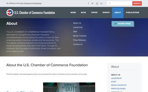 Screenshot of About Page uschamberfoundation.org - About the U.S. Chamber of Commerce Foundation | U.S. Chamber of Commerce Foundation - captured Jan. 26, 2016