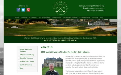 Screenshot of About Page mortongolf.com - Play Golf in Scotland with Morton Golf Holidays - captured Feb. 24, 2016