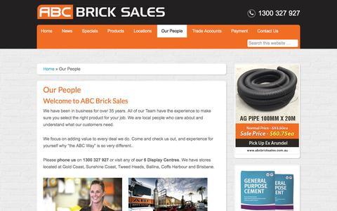 Screenshot of Team Page abcbricksales.com.au - ABC Brick Sales Team, experts on all things Bricks, Blocks and Pavers - captured Feb. 4, 2016