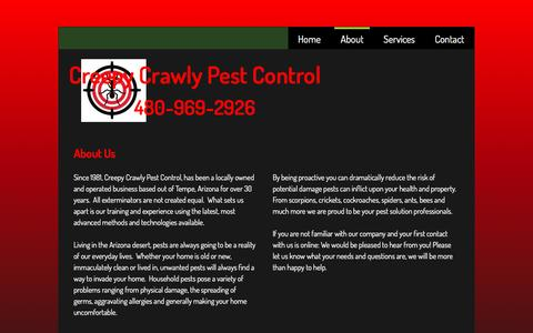 Screenshot of About Page creepycrawlypestcontrol.com - About - captured May 23, 2017