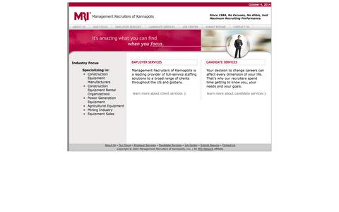 Screenshot of Home Page mrkannapolis.com - Management Recruiters of Kannapolis - captured Oct. 4, 2014
