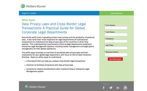 Screenshot of Landing Page datacert.com - White Paper: Data Privacy Laws and Cross-Border Legal Transactions - captured Aug. 17, 2016
