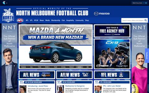 Screenshot of Home Page nmfc.com.au - Official AFL Website of the North Melbourne Football Club - captured Oct. 18, 2018