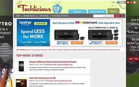 Screenshot of Blog techlicious.com - Blog - Techlicious - captured July 4, 2016