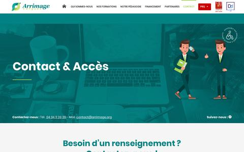 Screenshot of Contact Page arrimage.org - Ecole de langues Montpellier - Contact - Arrimage Langues - captured Dec. 9, 2018