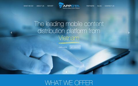 Screenshot of Home Page appota.com - Appota - Mobile Content Distribution Platform - captured Sept. 21, 2015