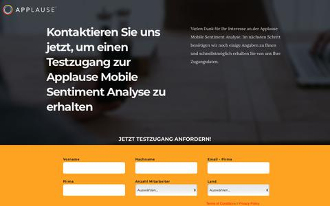 Screenshot of Landing Page applause.com - Applause Mobile Sentiment Analyse - Jetzt kostenlosen Testzugang anfordern! - captured Sept. 26, 2018