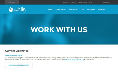 Screenshot of Jobs Page thehills.org - Work with Us | The Hills Church - captured Jan. 28, 2016