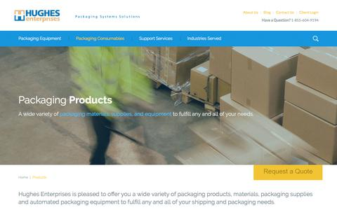 Screenshot of Products Page hughesent.com - Packaging Products, Materials & Supplies   Hughes Enterprises - captured Sept. 1, 2017