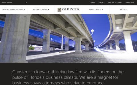 Screenshot of Home Page gunster.com - Gunster - Florida's Law Firm for Business - captured June 16, 2015