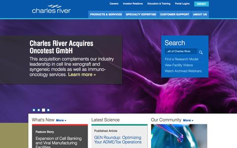 Screenshot of Home Page criver.com - Charles River Laboratories | Every Step of the Way. - captured Dec. 3, 2015