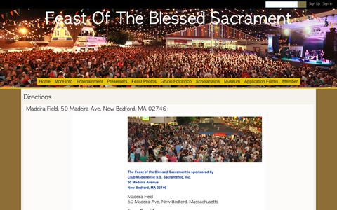 Screenshot of Maps & Directions Page ning.com - Directions - Feast Of The Blessed Sacrament - captured Oct. 27, 2018
