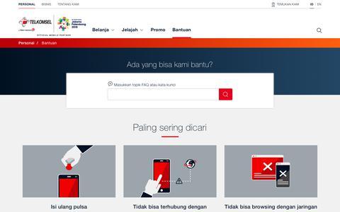 Screenshot of Support Page telkomsel.com - Bantuan | Telkomsel - captured March 7, 2018