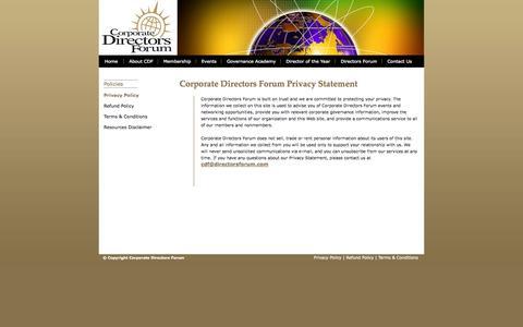 Screenshot of Privacy Page directorsforum.org - Corporate Directors Forum –  Privacy Statement - captured Oct. 3, 2014