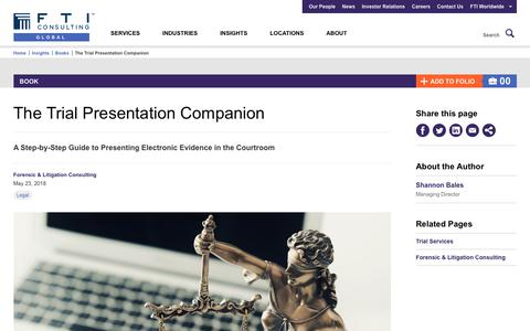 Screenshot of Trial Page fticonsulting.com - The Trial Presentation Companion | FTI Consulting - captured June 22, 2018