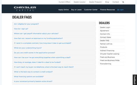 Screenshot of FAQ Page chryslercapital.com - Dealer FAQs | Chrysler Capital - captured July 30, 2017