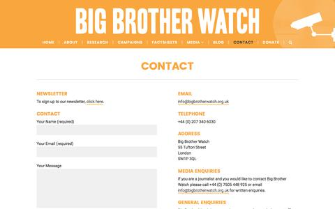 Screenshot of Contact Page bigbrotherwatch.org.uk - Contact – Big Brother Watch - captured June 1, 2017