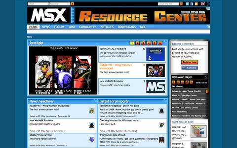 Screenshot of Home Page msx.org - MSX Resource Center - captured Oct. 11, 2015