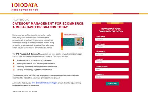Screenshot of Landing Page 1010data.com - Category Management for Ecommerce: a Must-Have for Brands Today - captured June 23, 2017