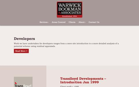 Screenshot of Developers Page warwickbookman.com - Looking for sites or needing a development appraisal? Warwick Bookman & Associates - captured Oct. 20, 2018