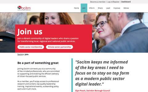 Screenshot of Signup Page socitm.net - Socitm   Join us - captured Sept. 21, 2018