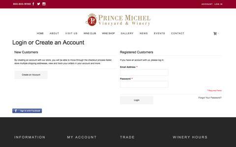Screenshot of Login Page princemichel.com - Customer Login - captured Nov. 12, 2016